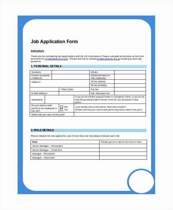 Job Application Template Microsoft Word Lovely Printable Applications 8 Free Word Pdf Document