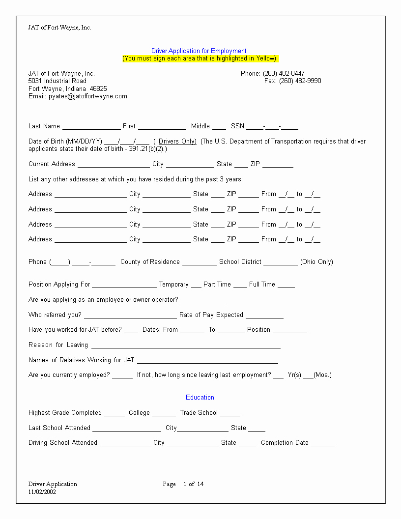 Job Application Template Microsoft Word Lovely Truck Driver Employment Application Word