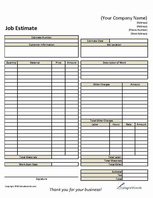 Job Estimate Template Pdf Awesome Basic Job Estimate form Construction