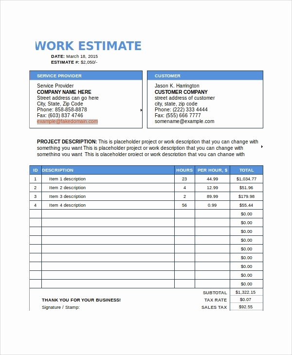 Job Estimate Template Pdf Awesome Sample Work Estimate Templates 7 Free Documents