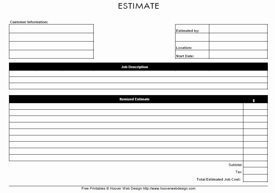 Job Estimate Template Pdf Best Of 13 Free Sample Job Estimate form Printable Samples