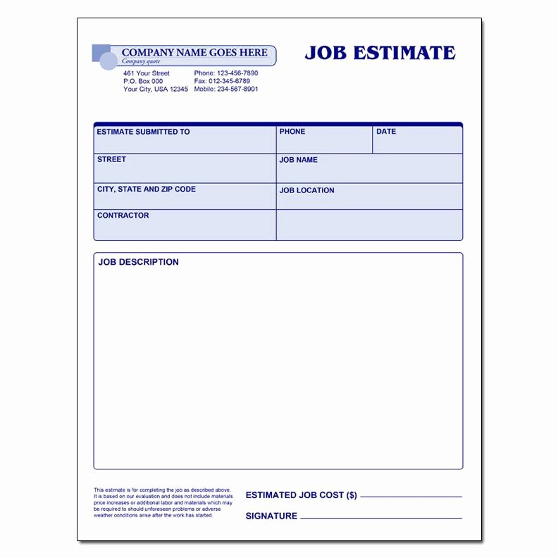 Job Estimate Template Pdf Best Of General Invoice forms Carbonless Printing