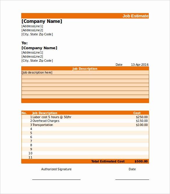 Job Estimate Template Pdf Elegant 26 Blank Estimate Templates Pdf Doc Excel Odt