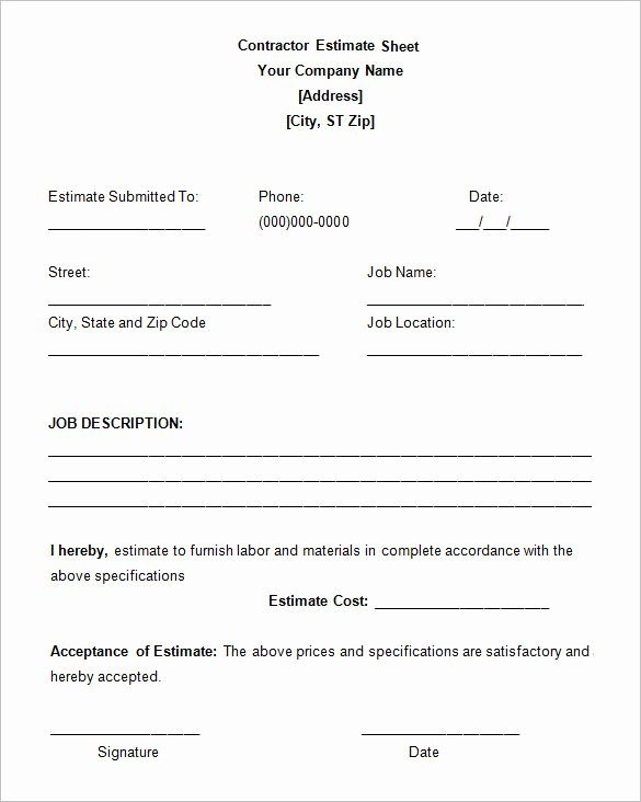 Job Estimate Template Pdf Elegant 5 Job Estimate Templates – Free Word Excel & Pdf