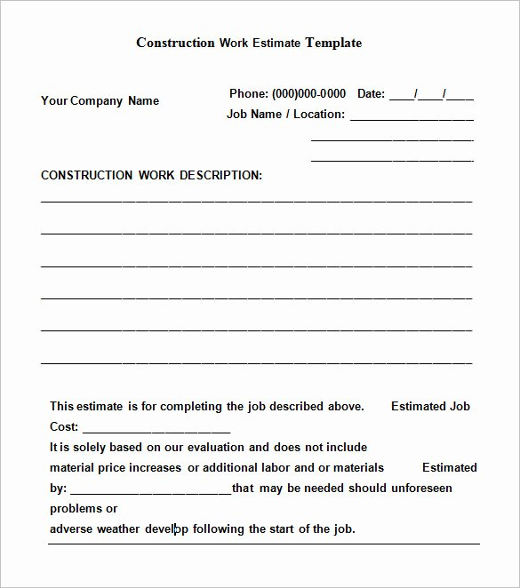 Job Estimate Template Pdf Luxury Free Construction Estimate Templates Collections