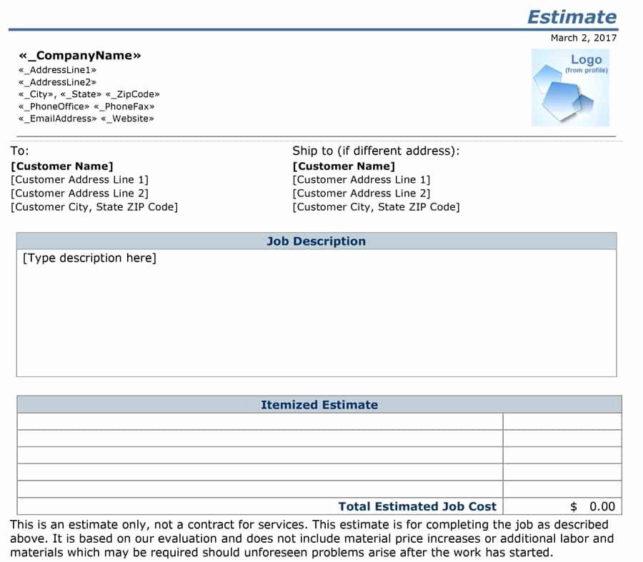 Job Estimate Template Pdf New 12 Job Estimate Templates