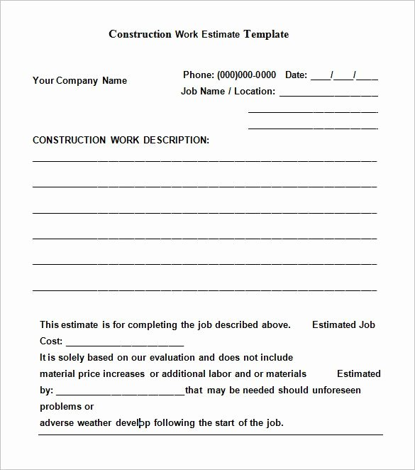 Job Estimate Template Pdf New 5 Construction Estimate Templates – Free Word Excel