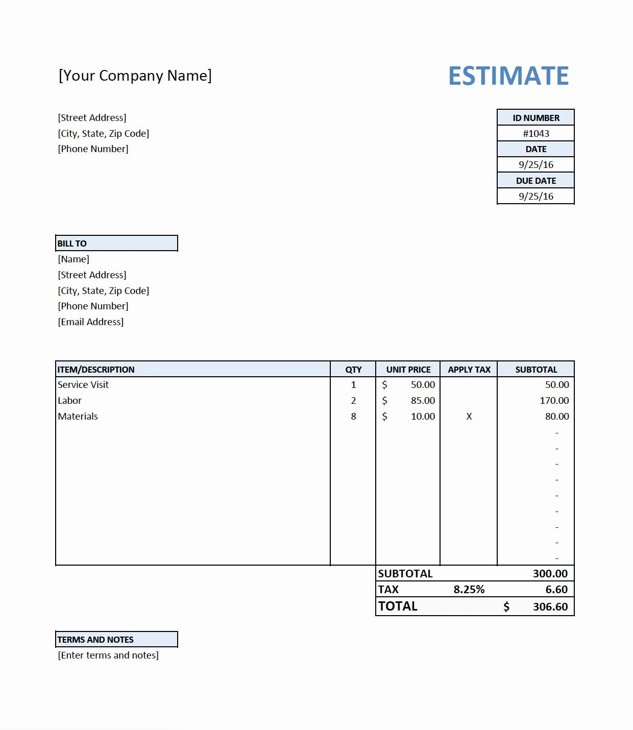 Job Estimate Template Pdf Unique Free Estimate Template for Contractors