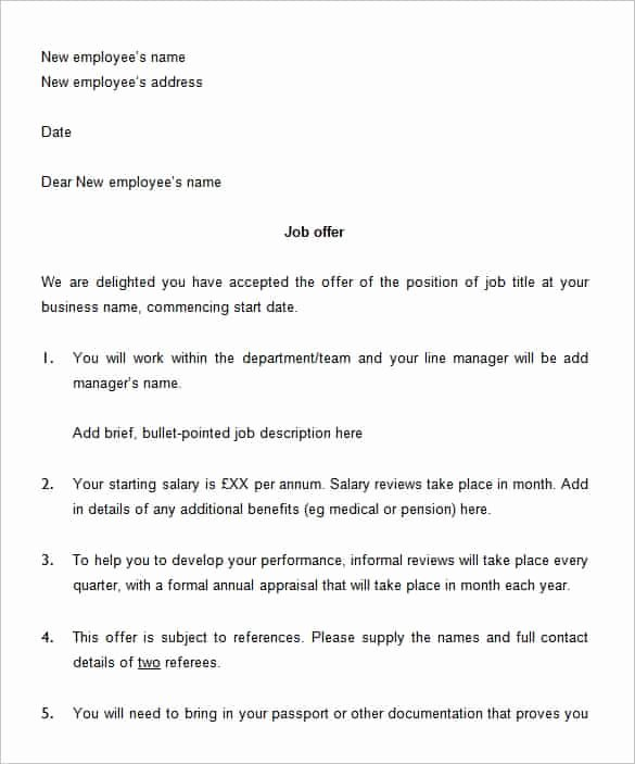 Job Offer Template Word Beautiful 75 Fer Letter Templates Pdf Doc