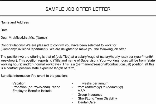 Job Offer Template Word Best Of Letter Template