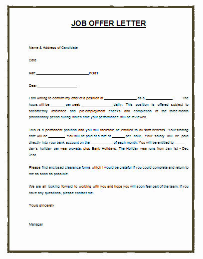 Job Offer Template Word Elegant Much Like the Job or Employment Agreement A Job Offer