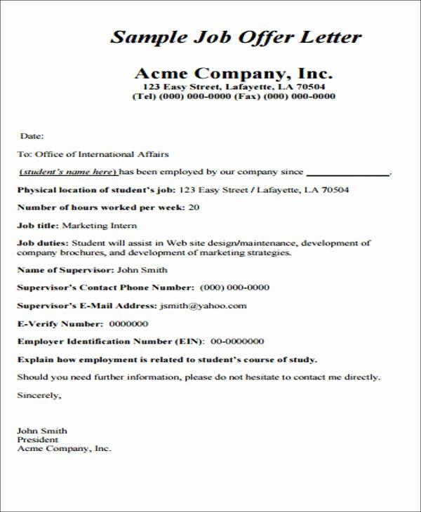 Job Offer Template Word Elegant Simple Fer Letter format