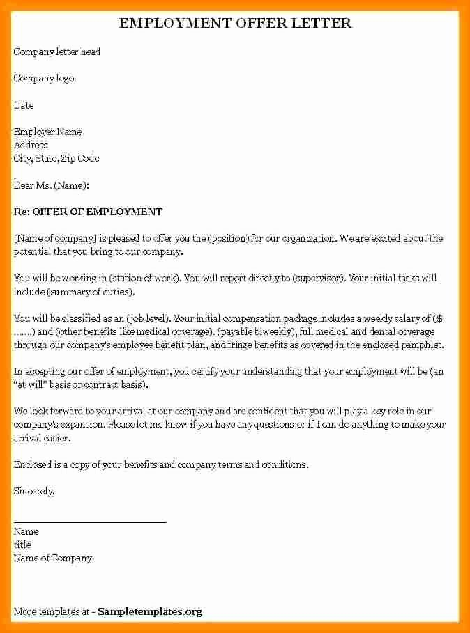 Job Offer Template Word Inspirational 8 Employment Offer Template