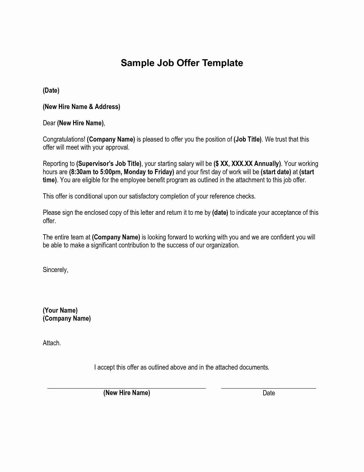 Job Offer Template Word New Job Fer Letter From Employer to Employee – Planner