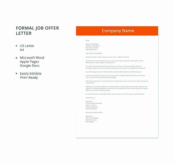 Job Offer Template Word Unique 70 Fer Letter Templates Pdf Doc