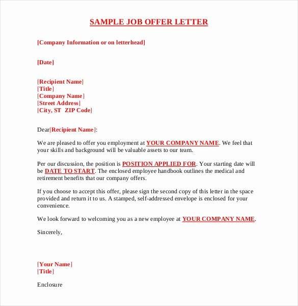 Job Offer Template Word Unique Sample Fer Letter