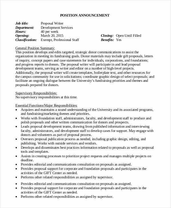 Job Position Proposal Template Awesome Job Proposal Templates 10 Free Sample Word Pdf