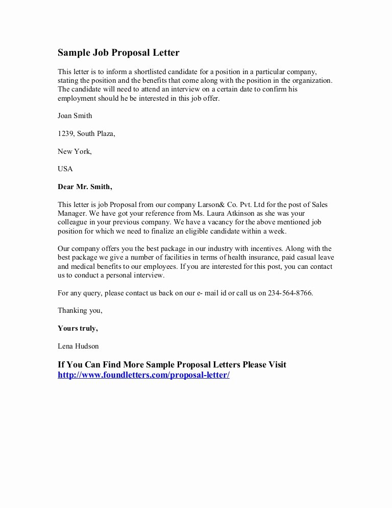 Job Position Proposal Template Beautiful Sample Job Proposal Letter