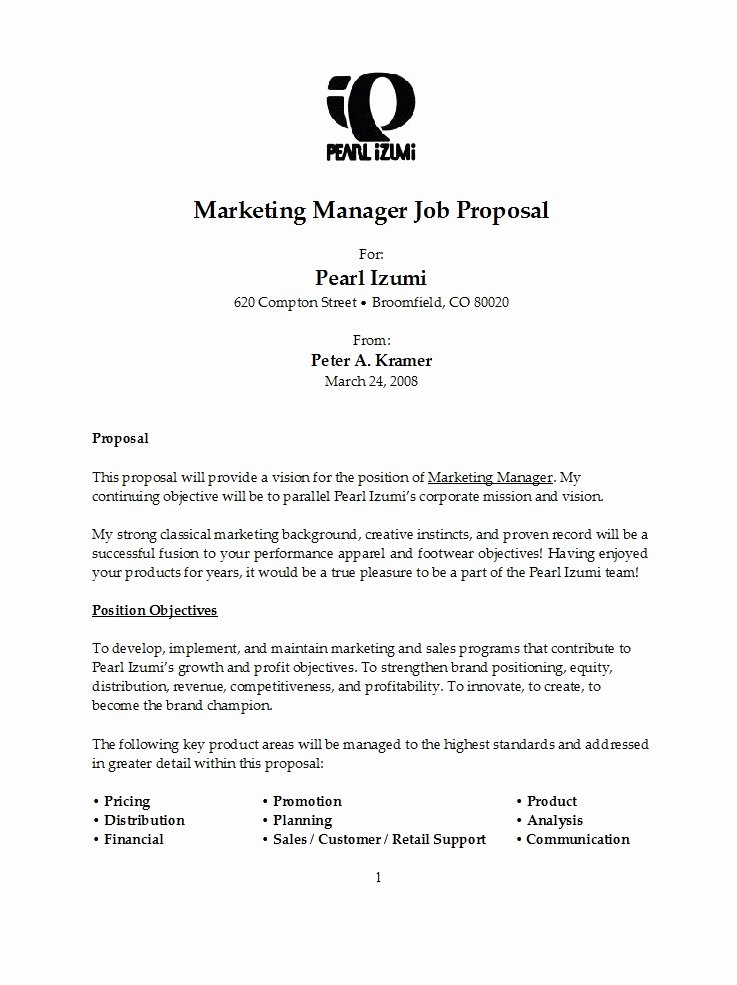 Job Position Proposal Template Best Of 43 Best Job Proposal Templates Free Download Template Lab