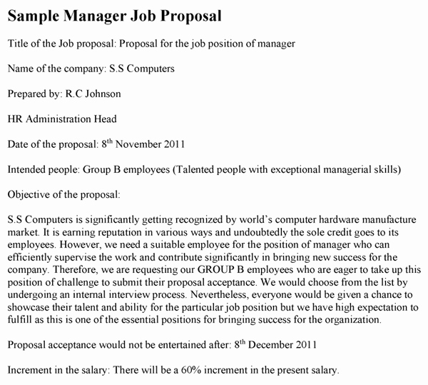 Job Position Proposal Template Inspirational New Employee Proposal Template