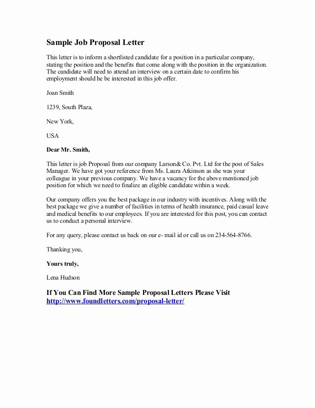 Job Position Proposal Template Lovely Sample Job Proposal Letter
