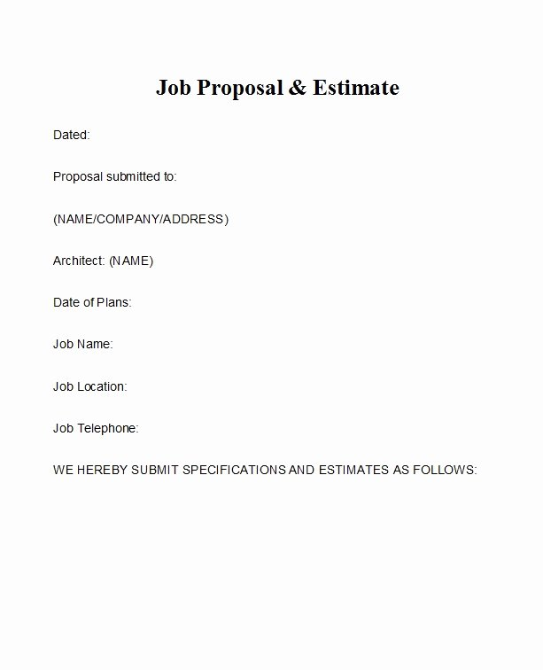 Job Position Proposal Template Luxury 43 Best Job Proposal Templates Free Download Template Lab