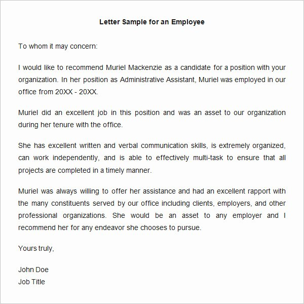 Job Recommendation Letter Sample Template Fresh 18 Employee Re Mendation Letters Pdf Doc