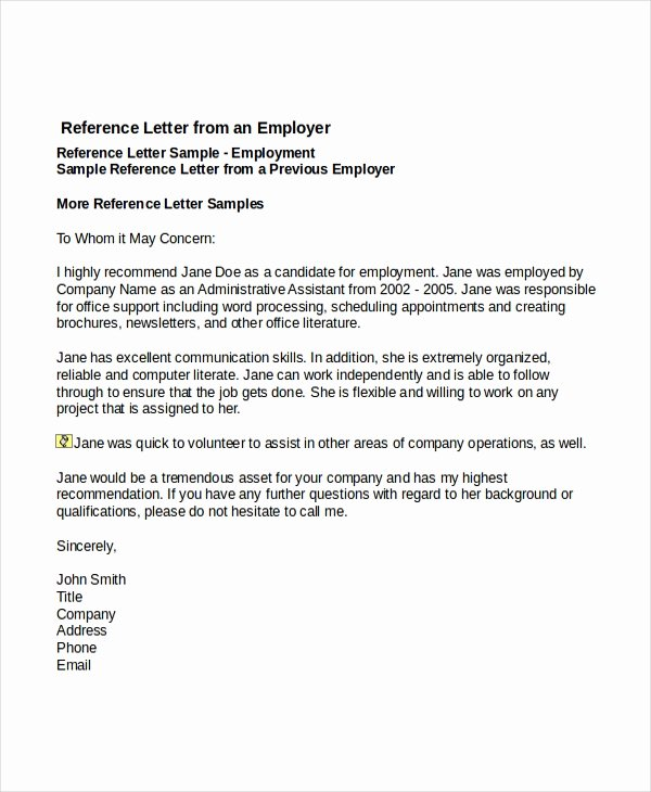 Job Recommendation Letter Sample Template Lovely 7 Job Reference Letter Templates Free Sample Example