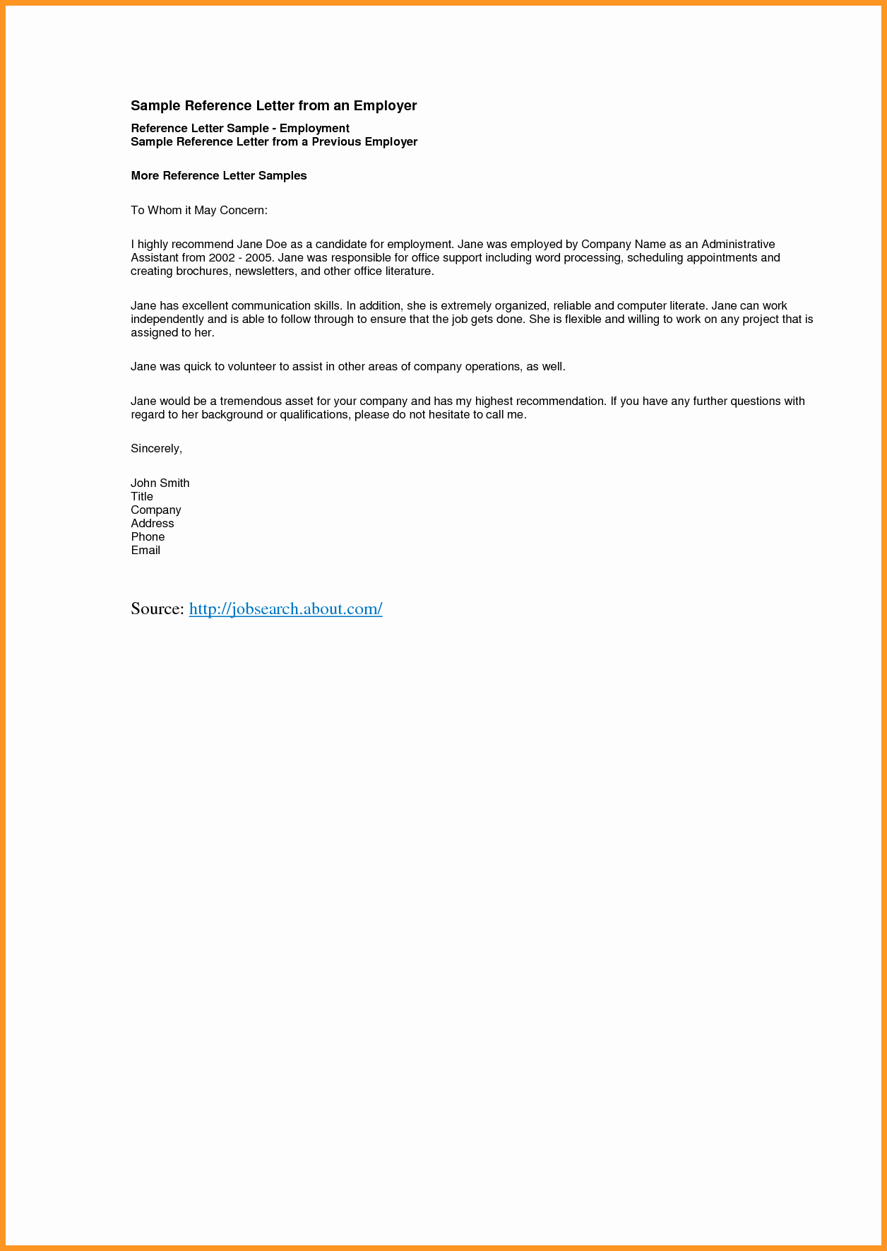 Job Recommendation Letter Sample Template Lovely 9 10 Re Mendation Letter Samples for Employment