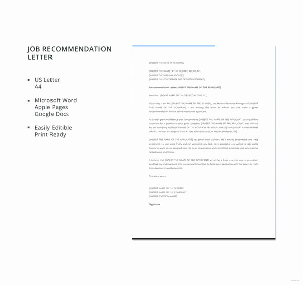 Job Recommendation Letter Sample Template New 10 Employee Re Mendation Letter Template 10 Free