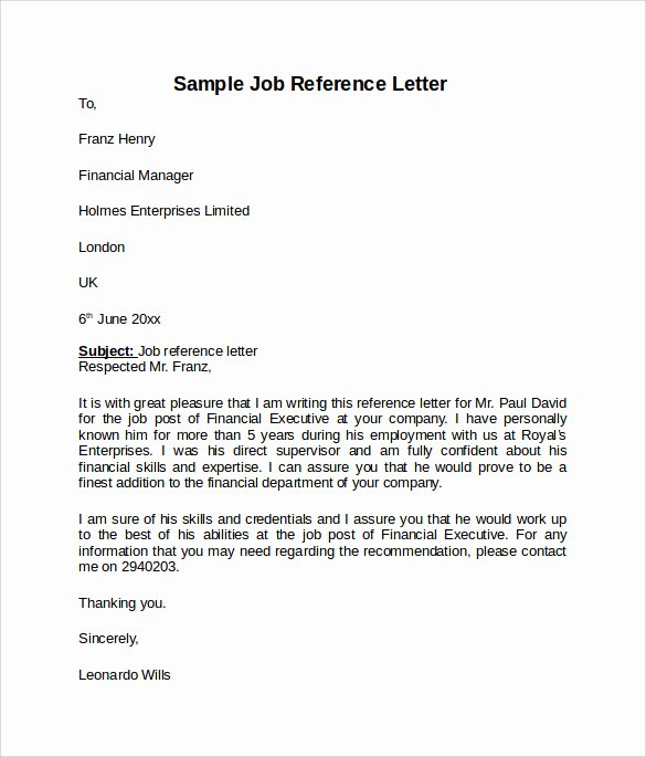 Job Recommendation Letter Sample Template New Job Reference Letter 7 Free Samples Examples & formats