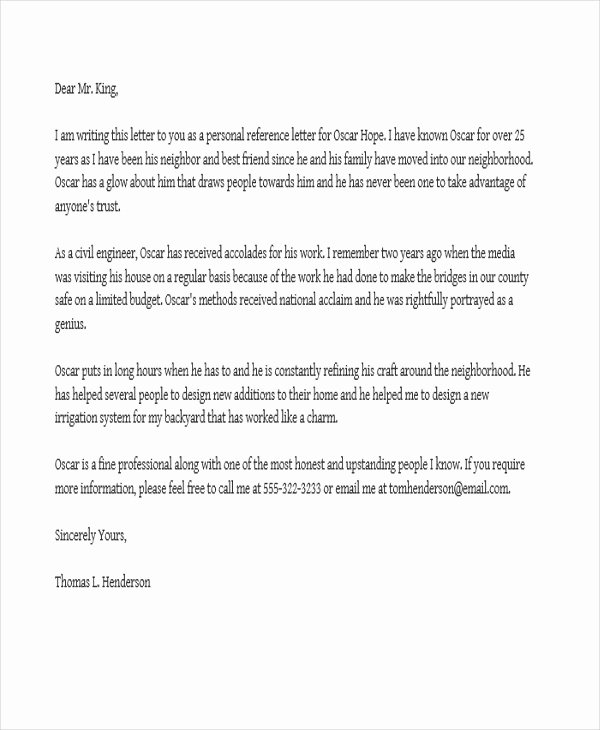 Job Recommendation Letter Sample Template New Job Reference Letter Templates 11 Free Word Pdf format