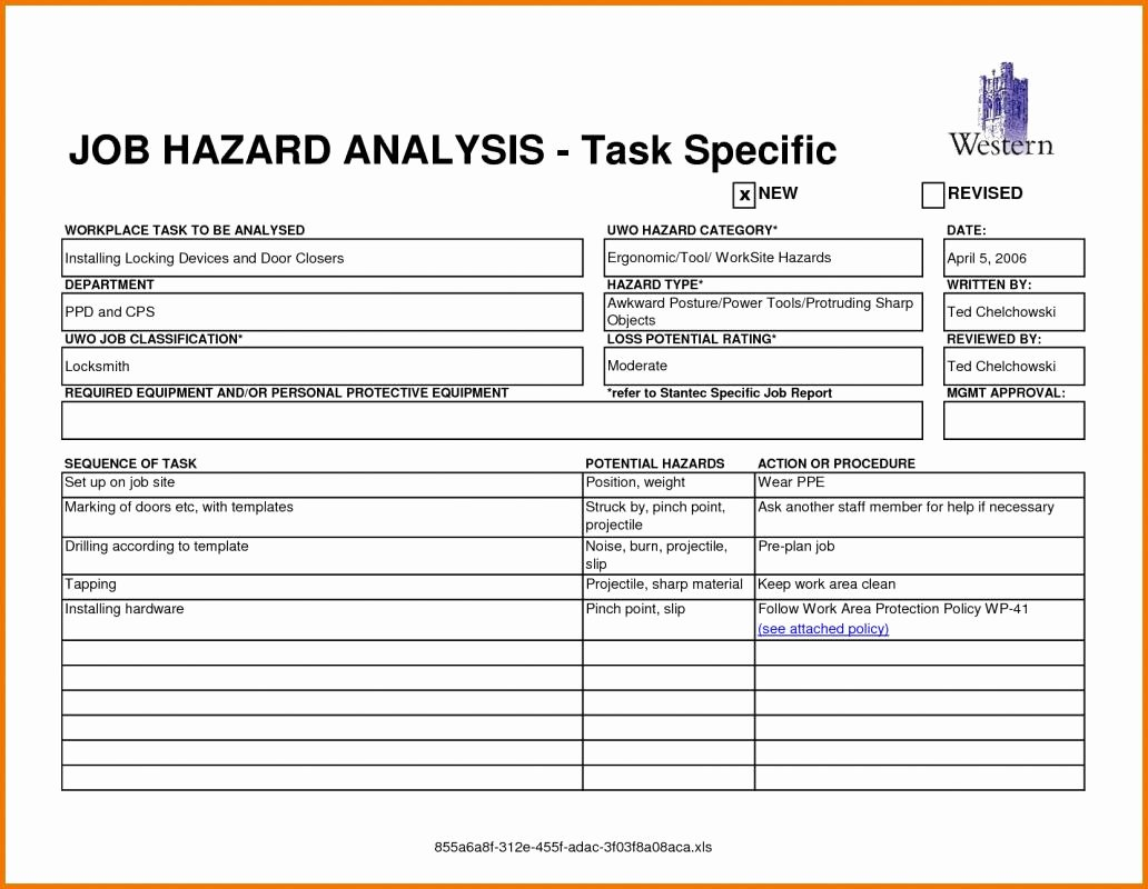 Job Safety Analysis Template Excel Best Of Job Hazard Analysis form