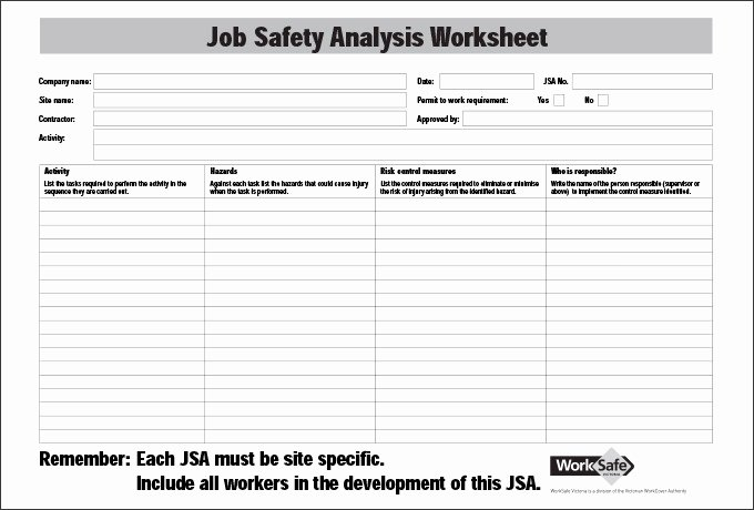 Job Safety Analysis Template Excel Fresh Job Safety Analysis Template 6 Free Word Pdf Documents