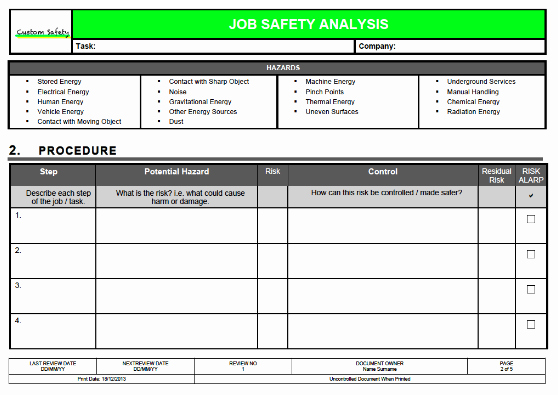 Job Safety Analysis Template Excel Fresh Job Safety Analysis Template Risk Ranked Landscape