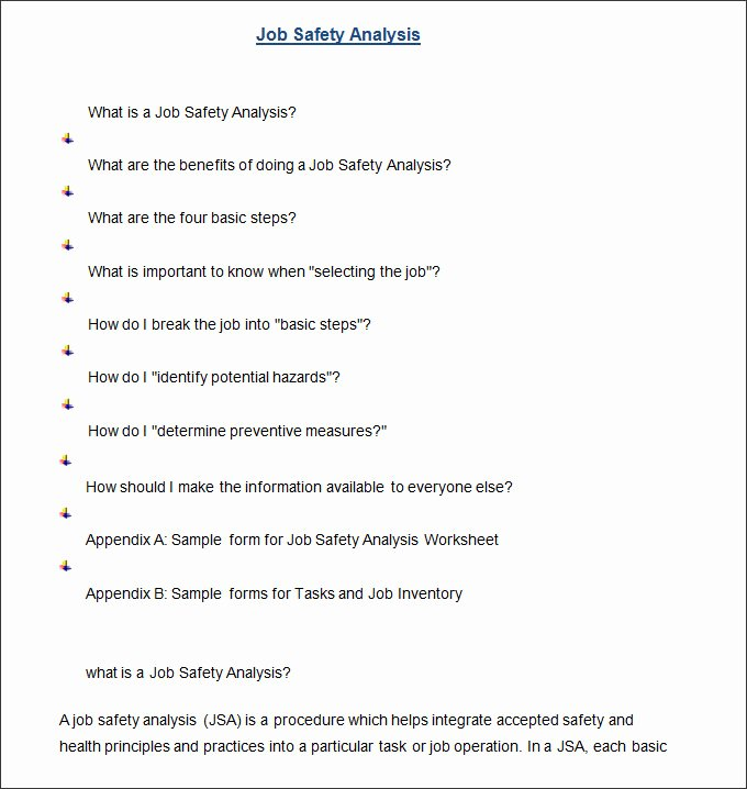 Job Safety Analysis Template Excel Inspirational Job Safety Analysis Template 6 Free Word Pdf Documents
