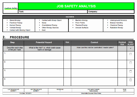 Job Safety Analysis Template Excel Inspirational Job Safety Analysis Template Risk Ranked Landscape