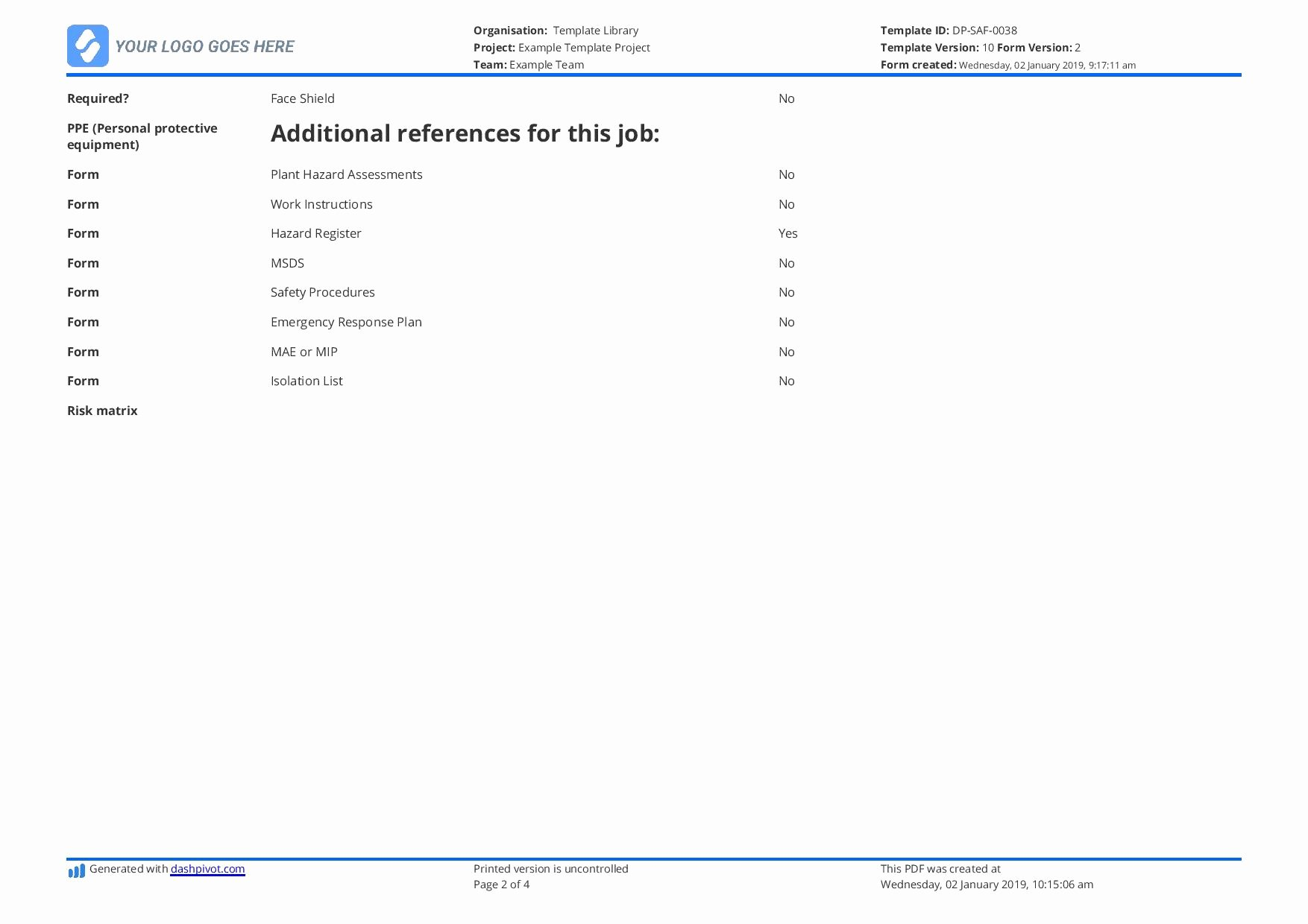 Job Safety Analysis Template Excel New Jsa Examples Use or Copy these Job Safety Analysis Examples