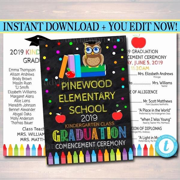 Kindergarten Graduation Program Templates Beautiful Editable Graduation Ceremony Program Template Any Grade
