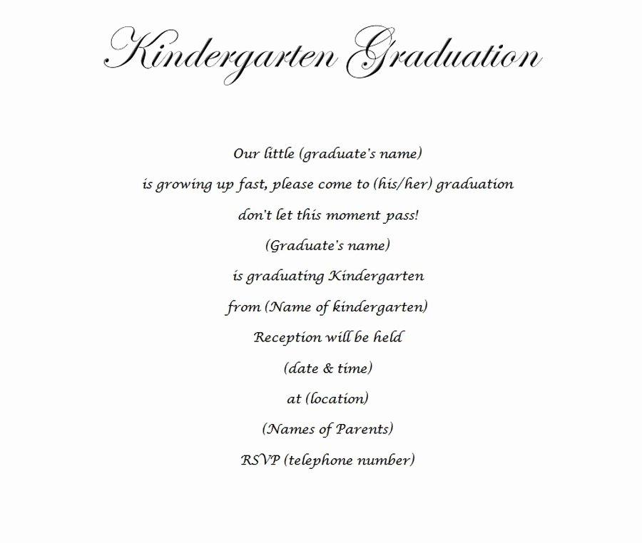 Kindergarten Graduation Program Templates Elegant Kindergarten Graduation Invitation 2 Wording