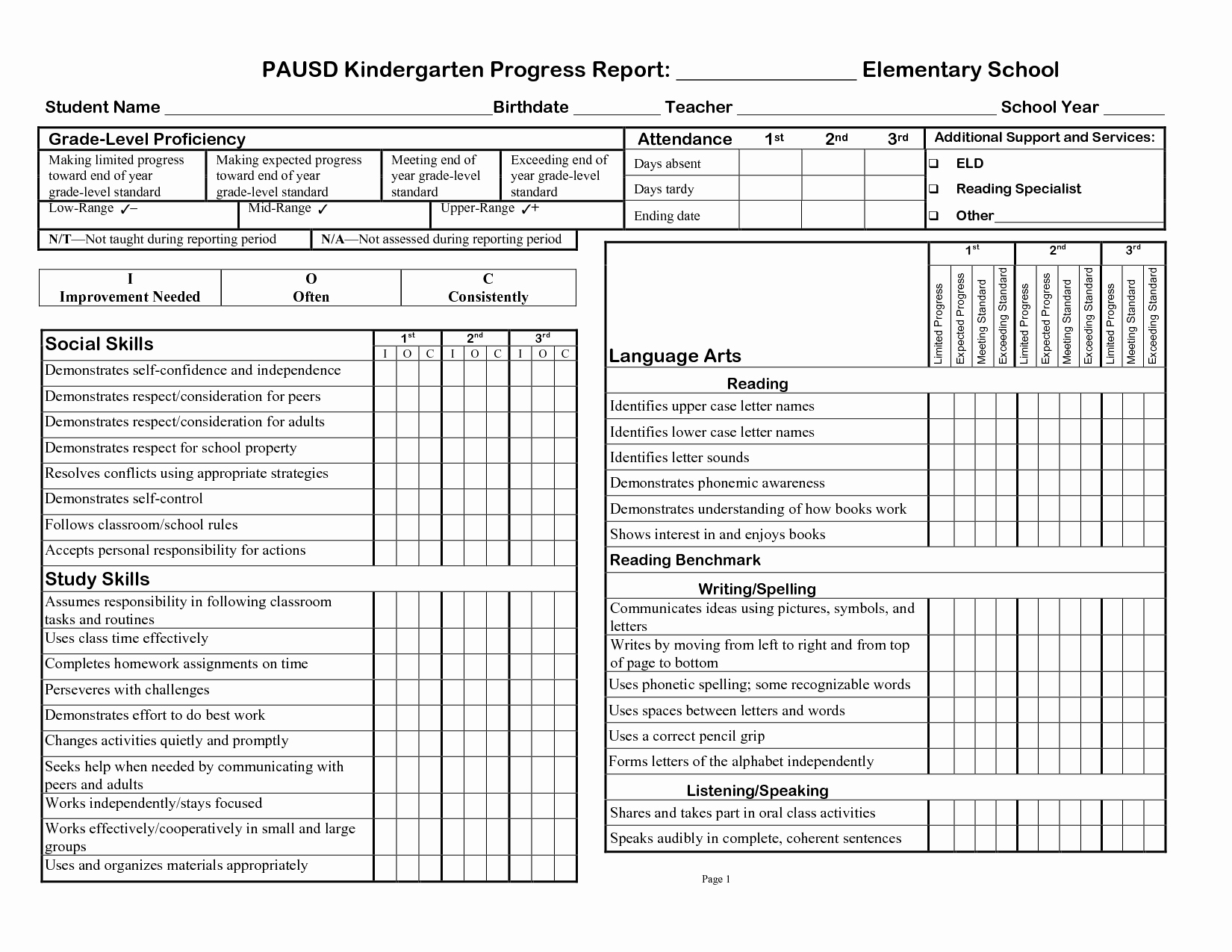 Kindergarten Progress Report Template Beautiful Printable Progress Report Template Google Search