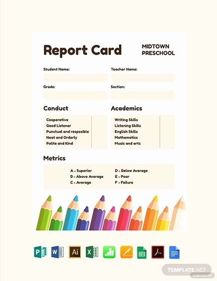 Kindergarten Progress Report Template Fresh Free Preschool Progress Report Card Template Word