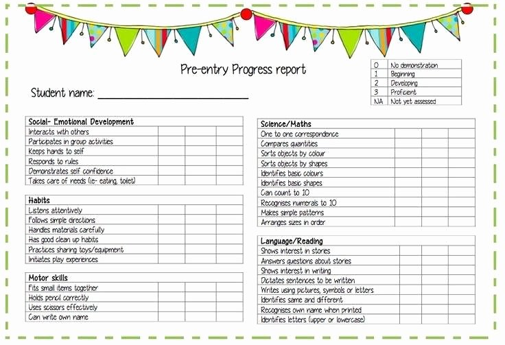 Kindergarten Progress Report Template Luxury Progress Reports Daycare Ideas