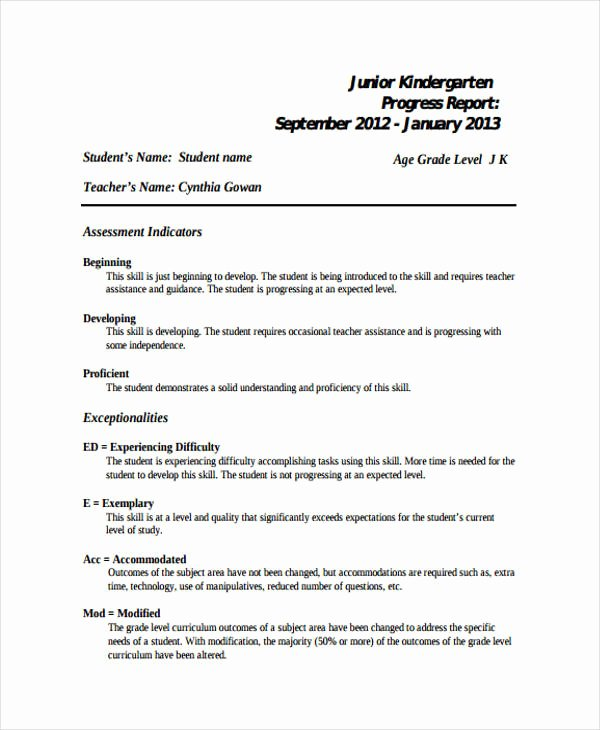 Kindergarten Progress Report Template New 19 Progress Report Templates Free Pdf Apple Pages