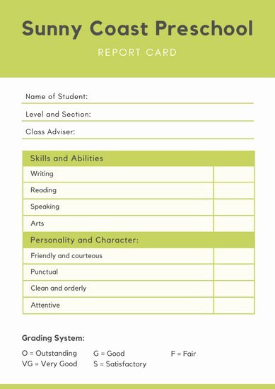 Kindergarten Progress Report Template New Report Card Template