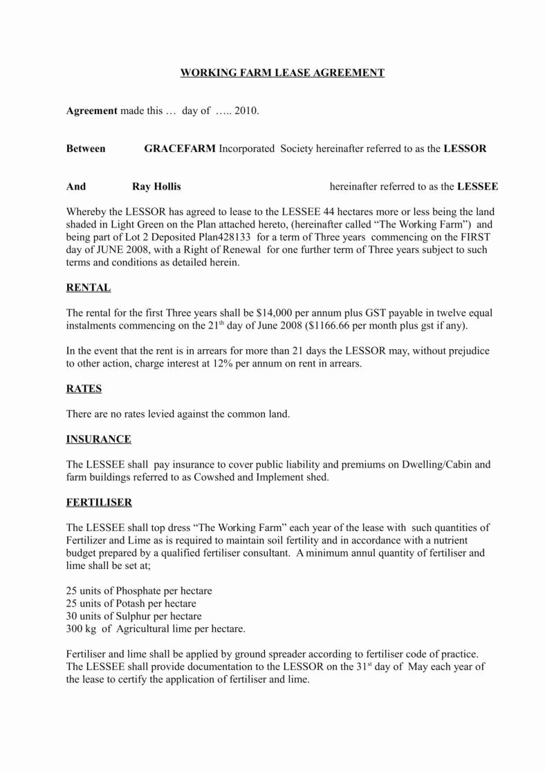 Land Lease Agreement Template Awesome 6 Land Lease Agreement Templates Word Pdf