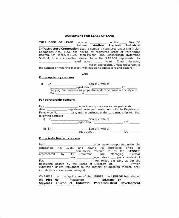 Land Lease Agreement Template Beautiful Land Lease Template 7 Free Word Pdf Documents Download