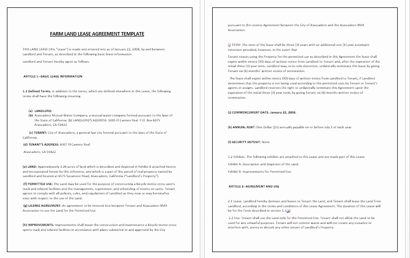 Land Lease Agreement Template Elegant Land Rental Agreement