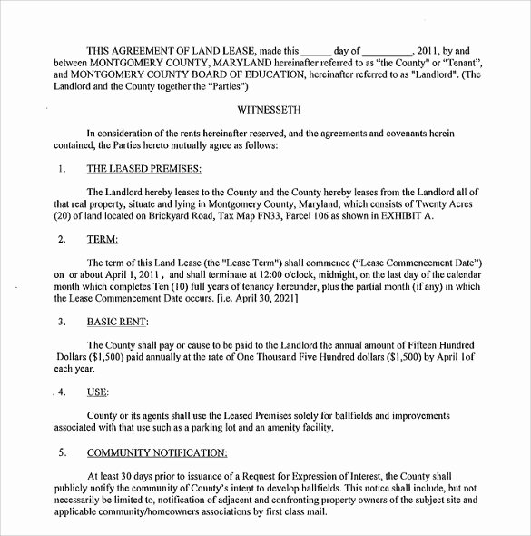 Land Lease Agreement Template Free Awesome 9 Land Lease Agreement Templates Free Sample Example