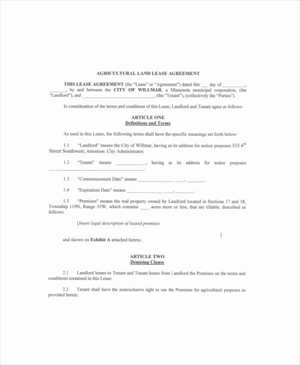 Land Lease Agreement Template Free Best Of Land Lease Template 7 Free Word Pdf Documents Download